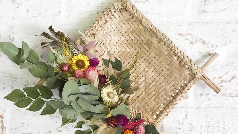 peneira quadrada flores secas catita
