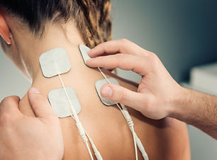 Electro stimulation in physical therapy.