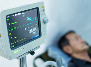 Blood pressure monitor in a field hospital and man..jpg