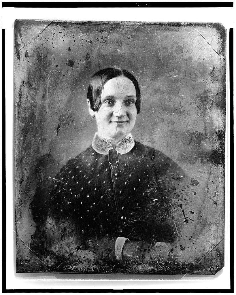 Unidentified woman with smirk, photograph by Mathew Brady, ca.1844-1860