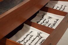Napkins displayed in sideboard