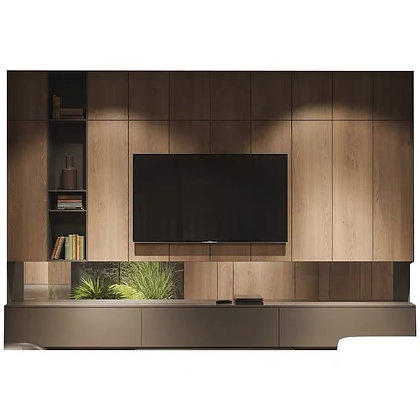 Scandinavian Wooden TV Console Feature Wall with  Hanging Cabinet