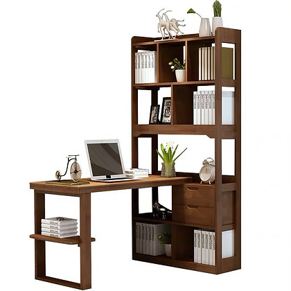 Solid Wood Computer Desk with Book Shelf