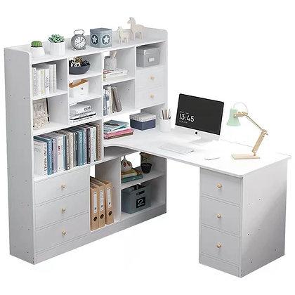 Minimalist White Study Desk with BookShelf