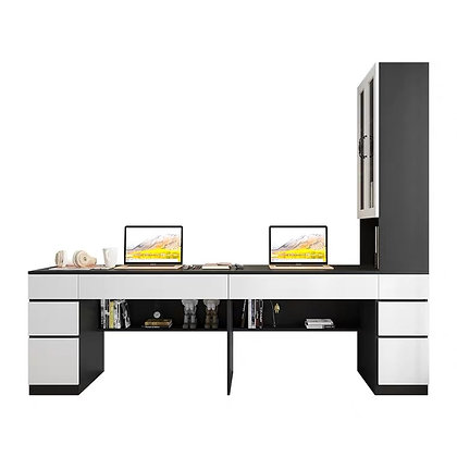 Minimalist Couple Work Desk With Cupboard