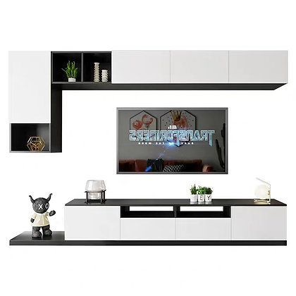 Minimalist TV Console Cabinet with Wall Shelf Cabinet
