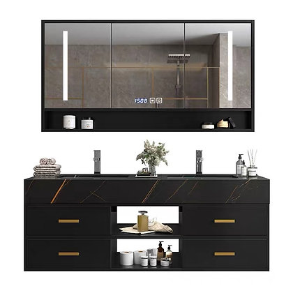 Light Luxury Mable Double Wash Basin Bathroom Cabinet