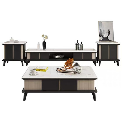 Nordic Burning Stone TV console and Coffee Table Set