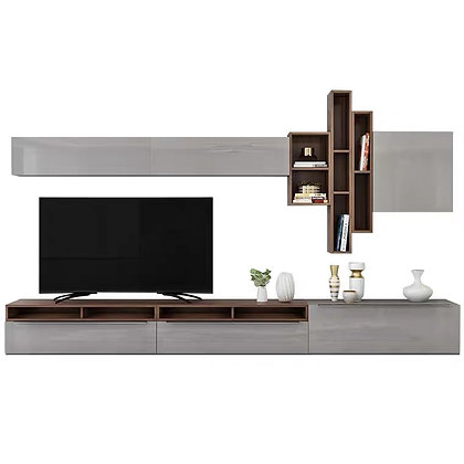 Sober Gray Build In TV Console and Wall Cabinet