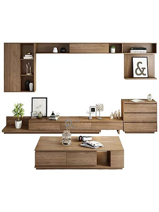 Japanese TV Console Wall Cabinet With Coffee Table Set