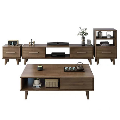 Premium Solid Wooden TV Console and Side Table Set