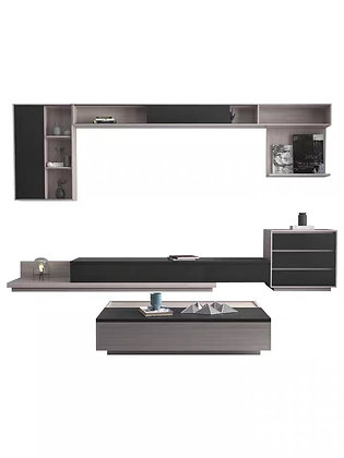 Grey Ash Floating TV Console Shelf with Coffee Table Set