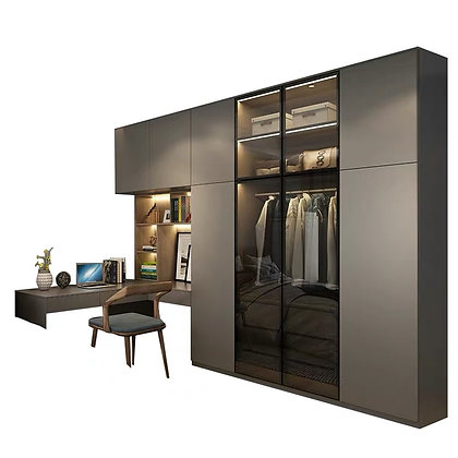 Classic Black Wardrobe Design With Dressing Table