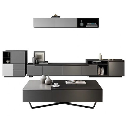 Glossy TV Cabinet and Coffee Table Set