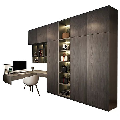 Solid Wood Wardrobe Design With Dressing Table