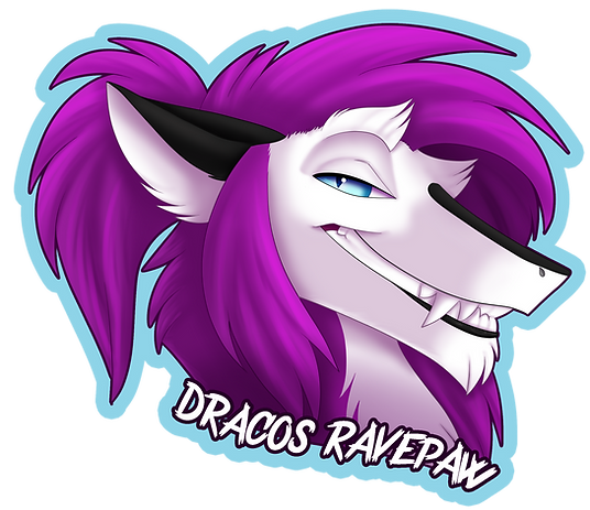 Dracos Ravepaw shaded headshot badge dig
