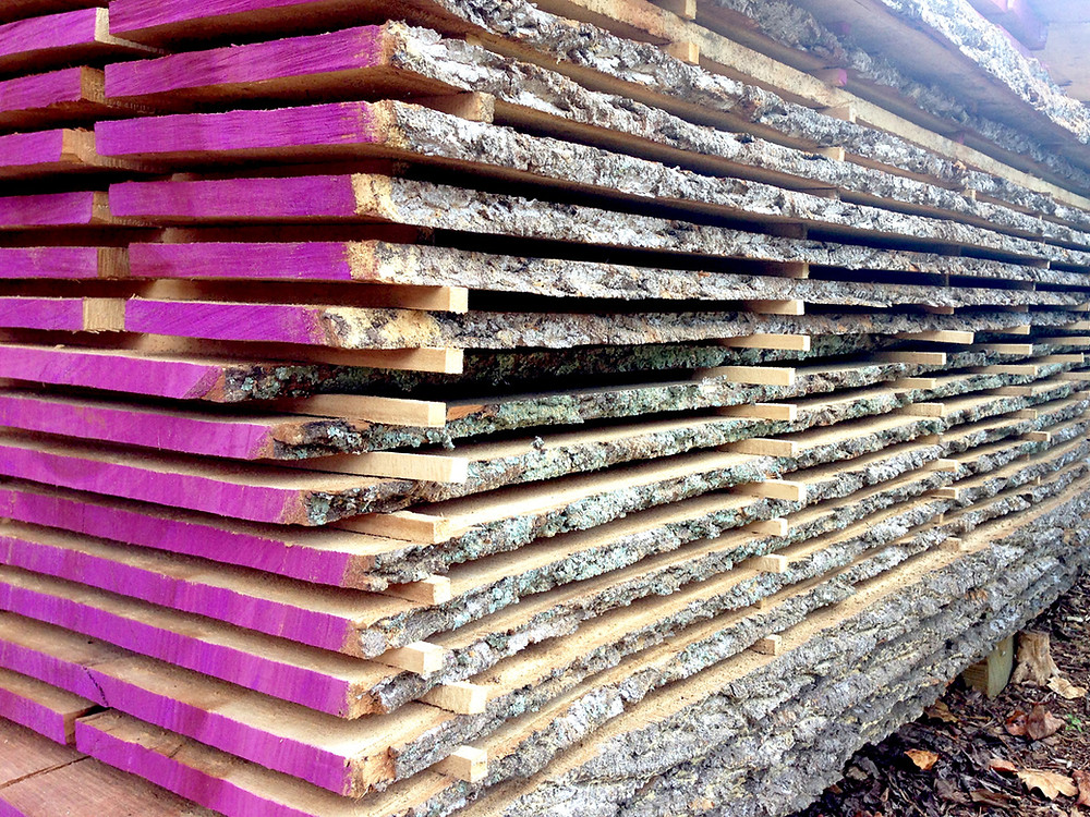 Live edge lumber stacked for drying.