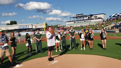 Chase & Reagan ( Sparty Kids) throwing out 1st pitches @ WhiteCaps Baseball Rivalry Night