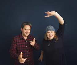 Two hosts, no-one knowing what to do with their hands!