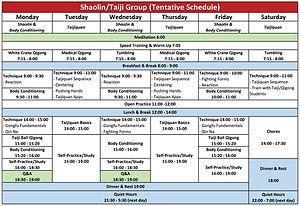 Shaolin/Taiji Schedule