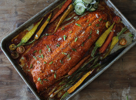 pan roasted gochujang glazed salmon, roasted carrots + quick pickled cucumber salad