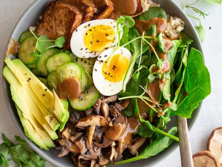 Green Buddha Bowl with Crispy Hoisin Tofu, Roasted Mushrooms and Red Mandarin Pickled Cucumbers