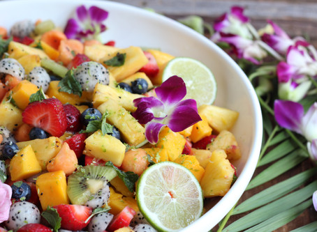 tropical fruit salad with passion fruit lime sauce