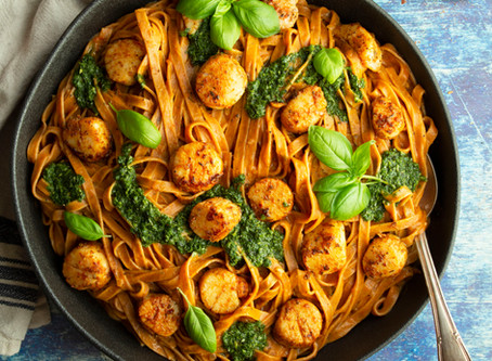 Creamy Cajun Fettuccine with Brown Butter Pan Seared Scallops and Basil Chimichurri