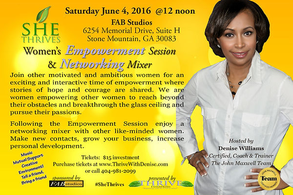 She THRIVES Empowerment Session & Networking Mixer Flyer