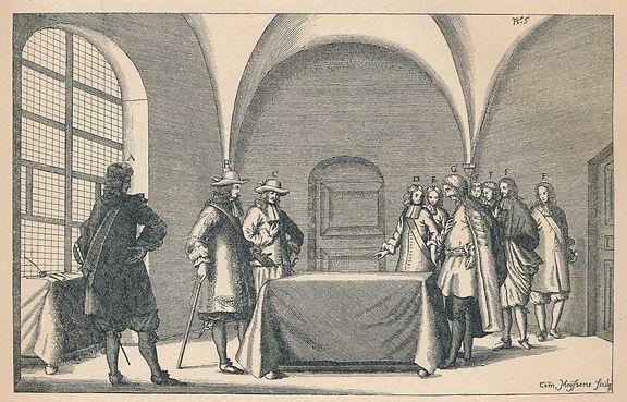 Fran Krsto Frankopan pred sucima u Bečkom Novom Mjestu gdje su urotnici osuđeni za izdaju.