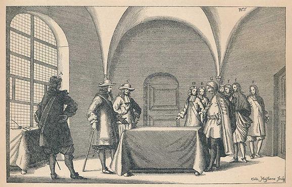 Grafika s prikazom Frana Krste Frankopana pred sucima u Bečkom Novom Mjestu.