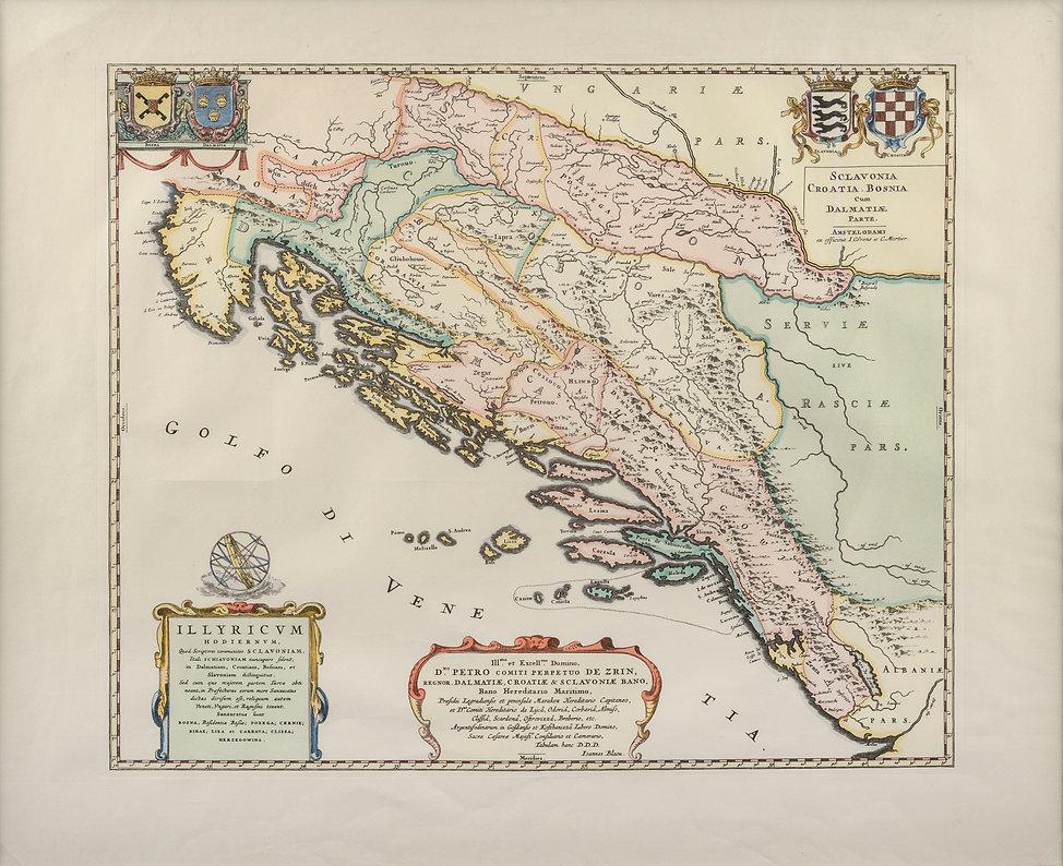 Karta Ilirika - Slavonije, Hrvatske, Bosne i Dalmacije iz 1668.