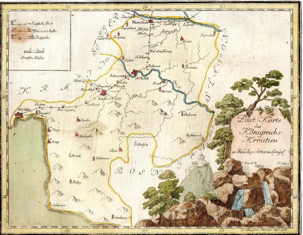 Karta poštanske ceste od Rijeke do Varaždina iz 1786.