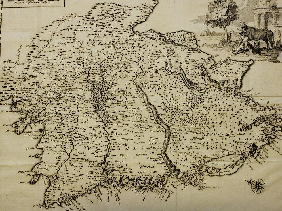 Geografska karta Istre iz 1753.