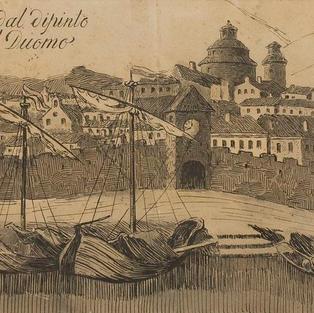 Fiume nel Sec. xviij - dal dipinto di Va. Metzinger al Duomo