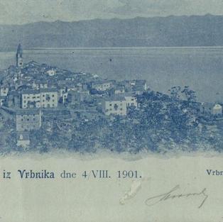 Pozdrav iz Vrbnika dne 4. VIII. 1901. Vrbnik s juga