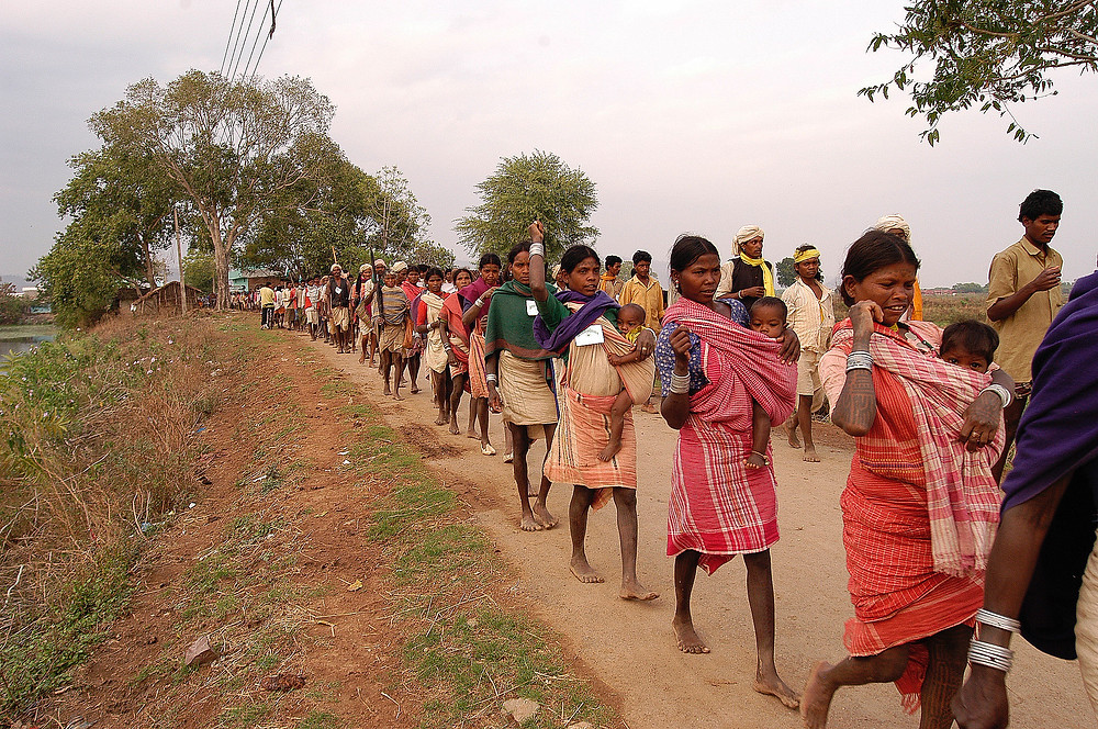 Baiga Tribe Women march in protest