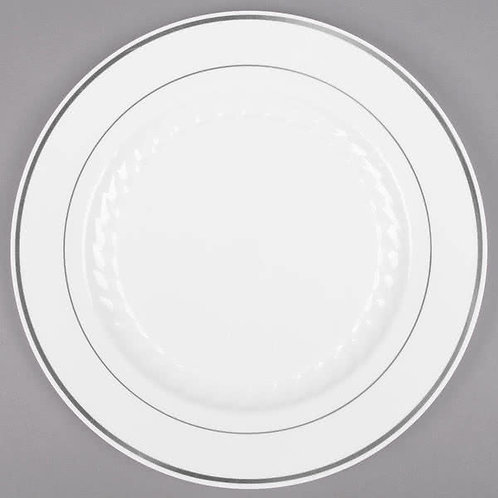 "6"" white Masterpiece plastic plate with silver accent bands"