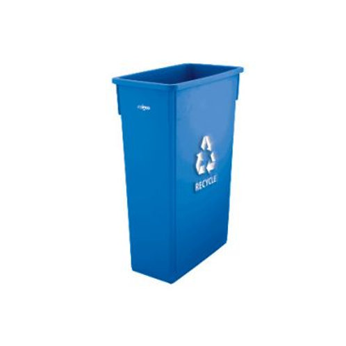 23 Gallon Blue Plastic Slender Recycle Trash Can