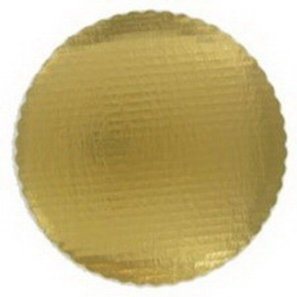 "Gold 10"" Laminated Corrugated Single Wall Scalloped Cake Circle"
