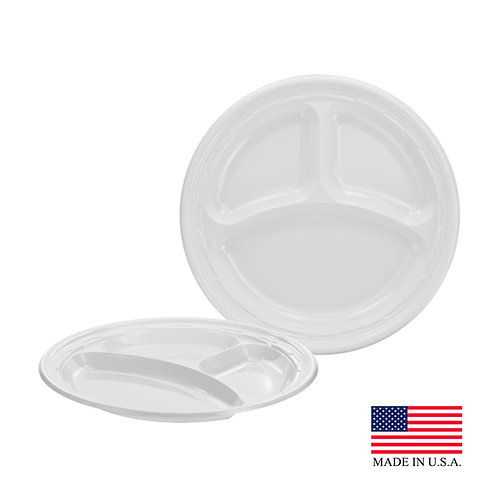 "9"" 3 COMPARTMENT PLASTIC PLATE"