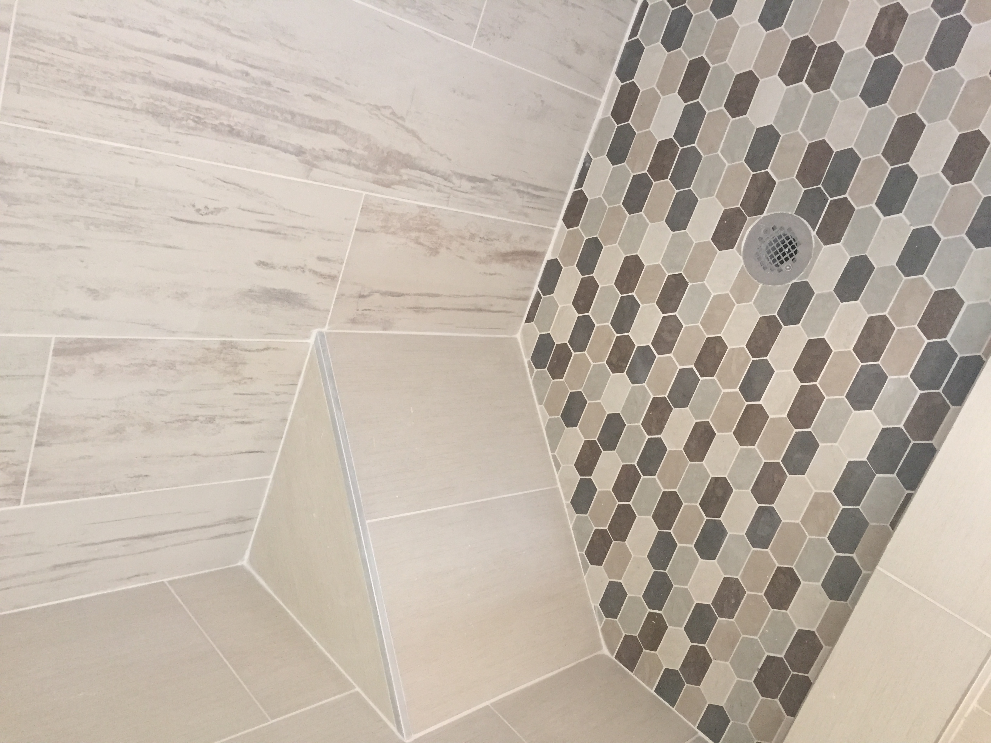 Shower Step and Mosaic Floor