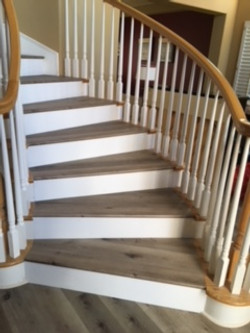 Wood & White Backing on Stairs