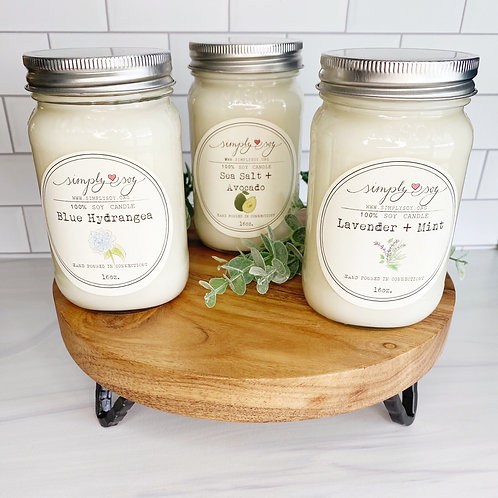(3) 16 ounce Mason Jar Candles