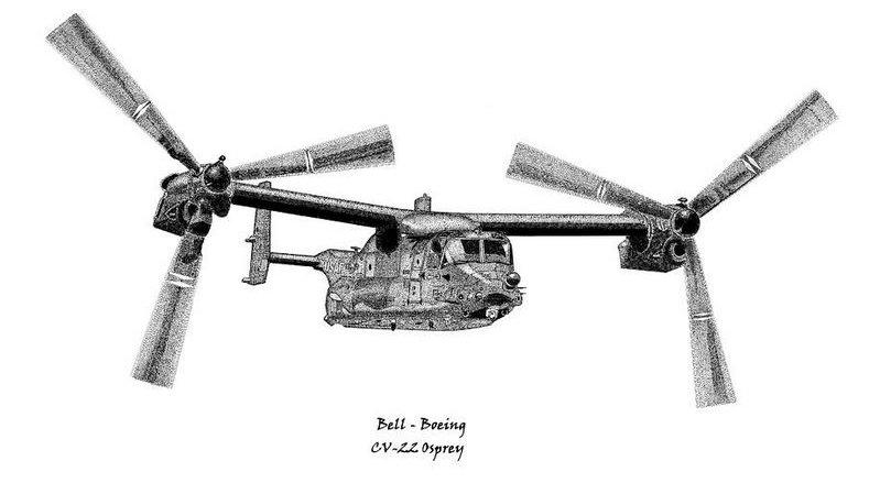 CV-22B Osprey in Airplane Mode - Pen & Ink Print