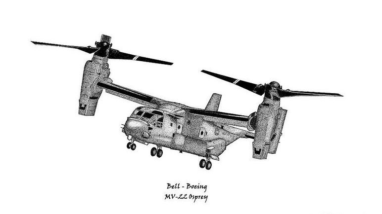 MV-22B Osprey in Helicopter Mode - Pen & Ink Print