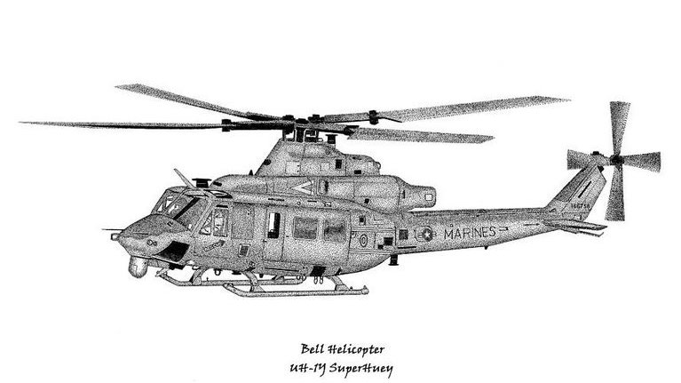 UH-1Y Utility Helicopter - Pen & Ink Print