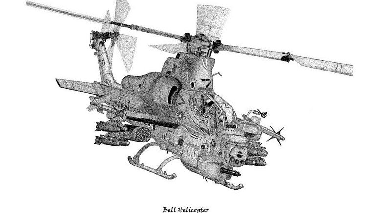 AH-1Z Attack Helicopter - Pen & Ink Print