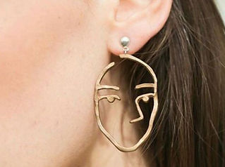 Abstract Cutout Face Dangle Drop Earrings Lady Hollow Jewelry