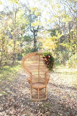 Flower design rustic chair outdoor wedding